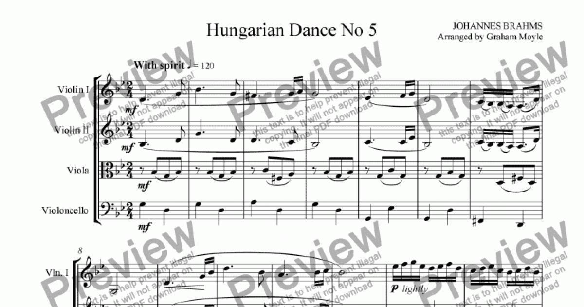 Hungarian Dance No 5 - Download Sheet Music PDF file