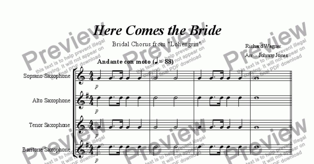 Alto Saxophone Part From Here Comes The Bride Bridal Chorus Lohengrin