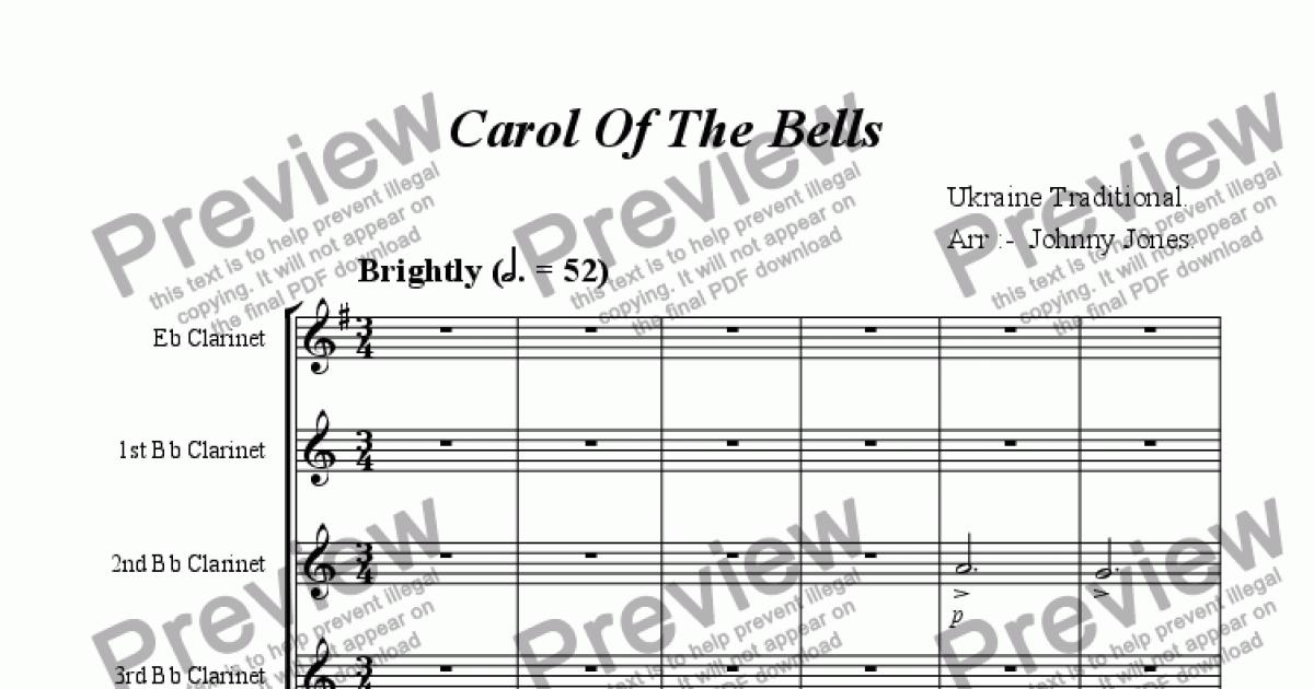 Carol Of The Bells (Clarinet Choir of 6) - Sheet Music PDF