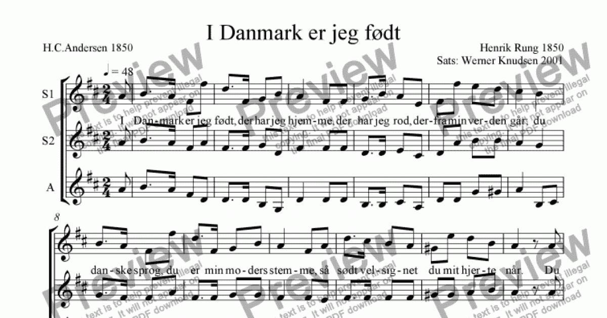 I Danmark er jeg født - Download Sheet Music PDF file