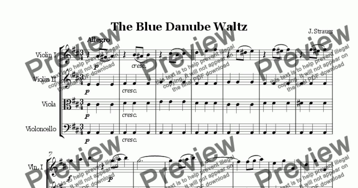 Strauss The Blue Danube Waltz for String Quartet - Buy PDF