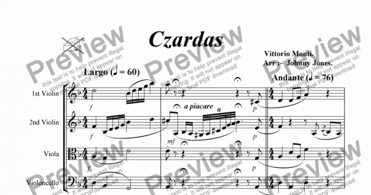 Czardas (String Quartet) - Download Sheet Music PDF file