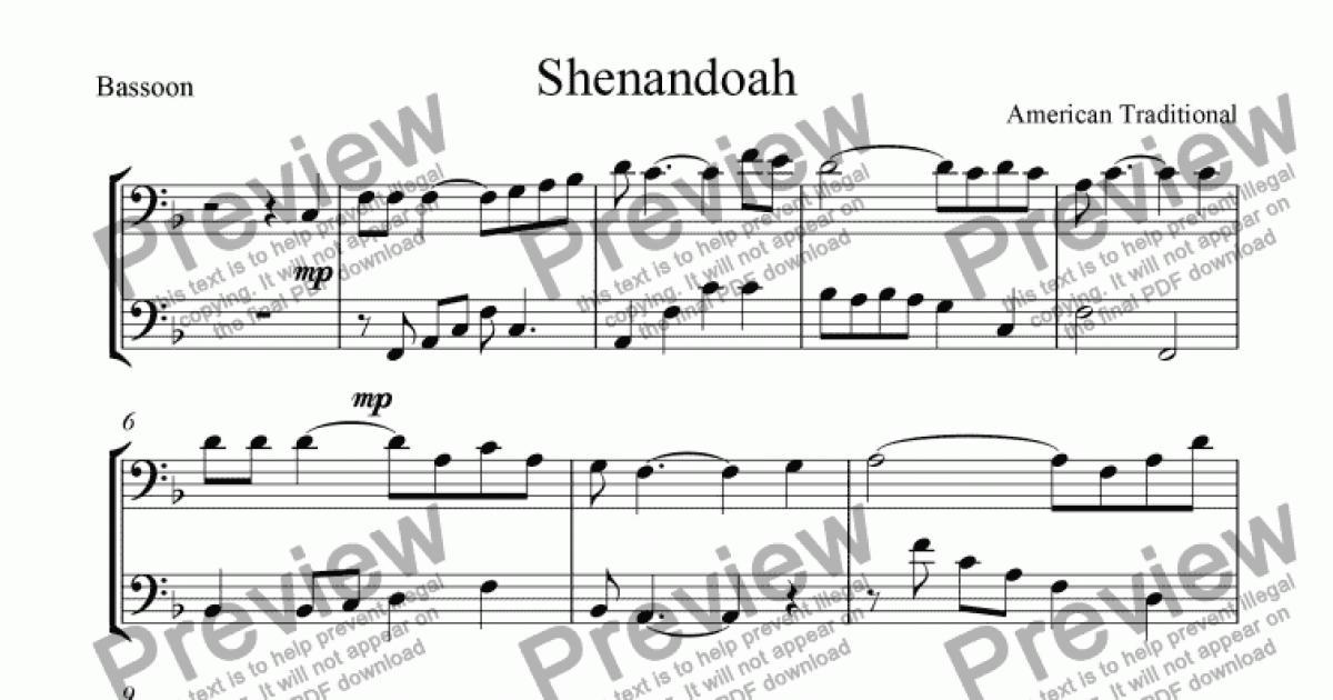 All Music Chords sheet music shenandoah : Shenandoah, Easy bassoon duet (bass clef). - Sheet Music PDF