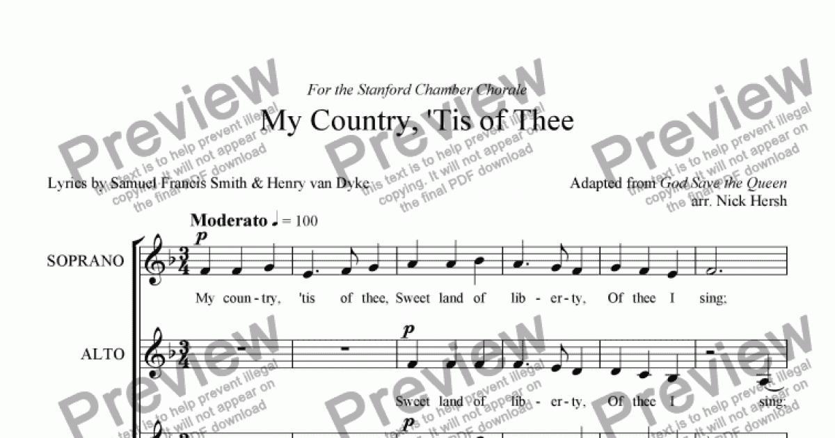 Lyric my country tis of thee lyrics : My Country, 'Tis of Thee [SSAATTBB Choir] - Sheet Music PDF