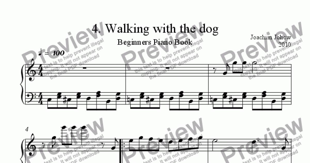 Piano sheet music for beginners piano : Beginners Piano Book 04 (Walking with the dog) - Sheet Music