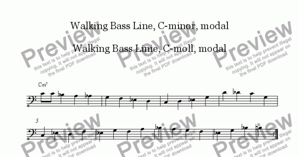 walking bass line in c minor with analysis hints sheet music pdf. Black Bedroom Furniture Sets. Home Design Ideas