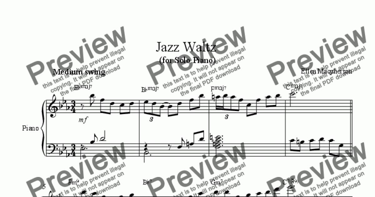 Jazz Waltz for Solo Piano for Solo instrument (Piano) by Ellen Macpherson -  Sheet Music PDF file to download