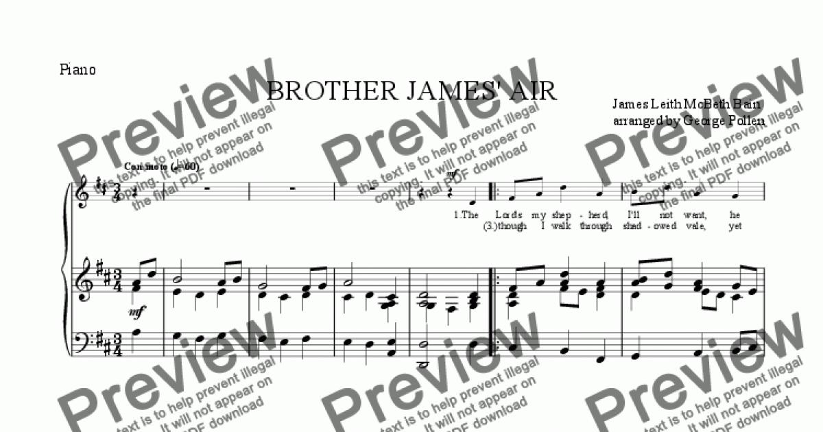 BROTHER JAMES' AIR for Voice + keyboard by James Leith McBeth Bain - Sheet  Music PDF file to download