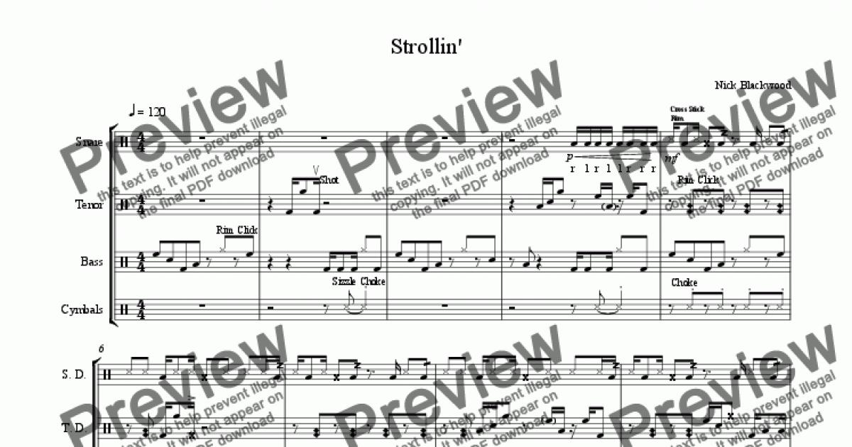 Strollin' for Marching band by Nicholas Blackwood - Sheet Music PDF file to  download