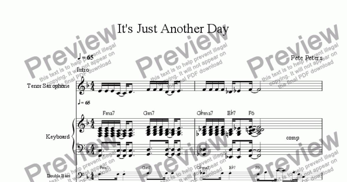 It's Just Another Day [Pop vocal ] for Large mixed ensemble by Pete Peters  - Sheet Music PDF file to download