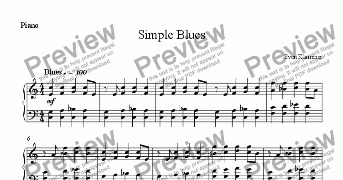 Simple Blues for Solo instrument (Piano) by Sven Klammer - Sheet Music PDF  file to download