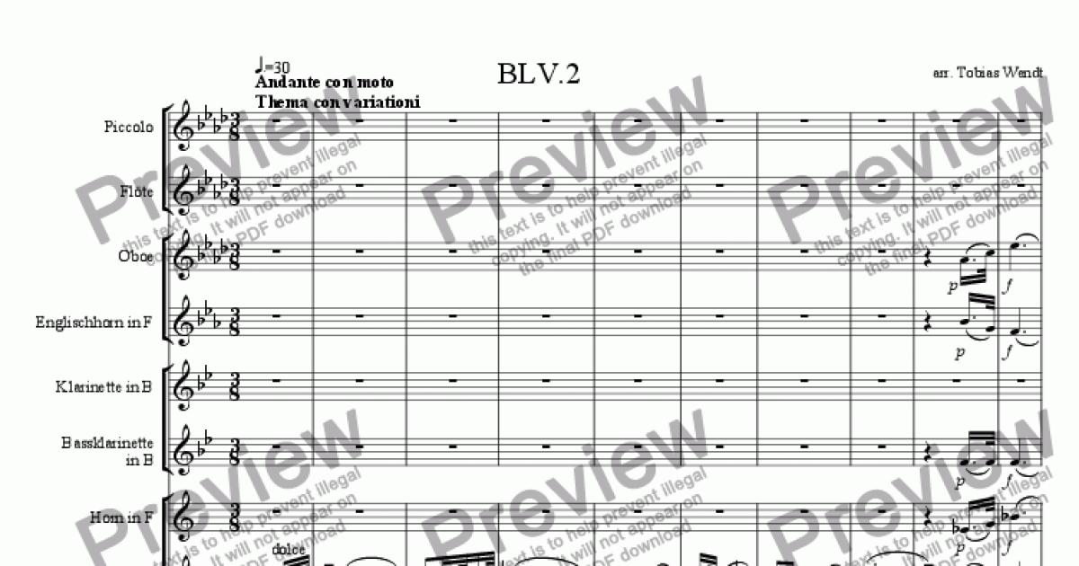 Beethoven 5th Symphony-2 for Wind quintet by Beethoven - Sheet Music PDF  file to download