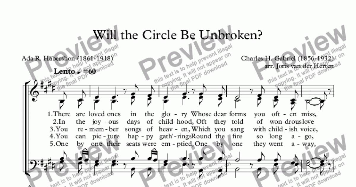 Will the Circle Be Unbroken? (choir SATB) for Choir by Charles H  Gabriel -  Sheet Music PDF file to download