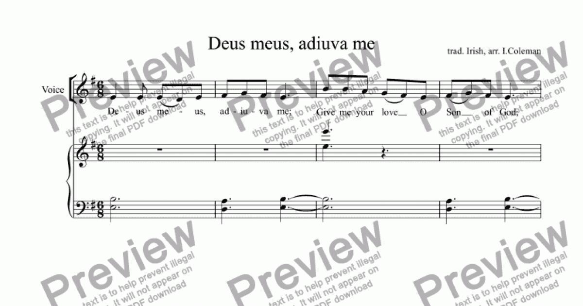 Deus meus, adiuva me for Choir + keyboard by trad  Irish, arr  I Coleman -  Sheet Music PDF file to download