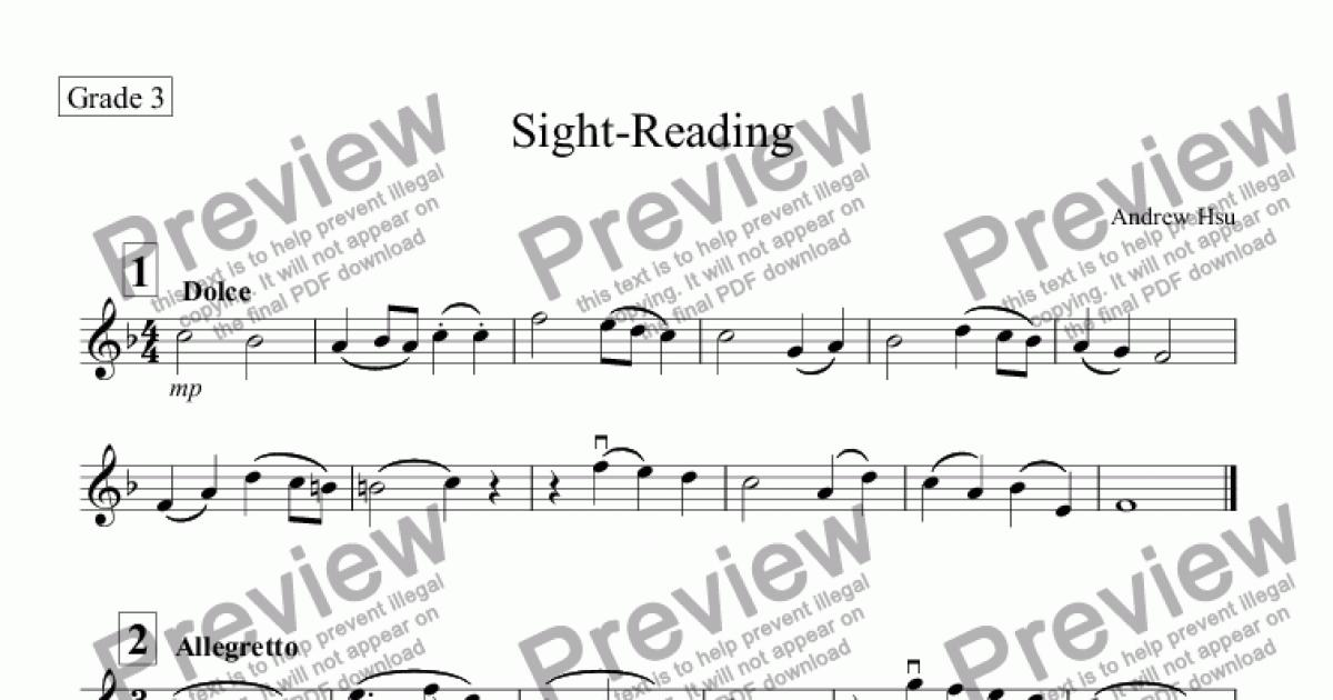 Violin Sight-Reading (Grade 3) for Solo instrument (Solo Violin) by Andrew  Hsu - Sheet Music PDF file to download