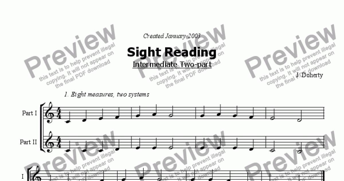 2pt Sight Reading Intermediate - 1 for Worksheets by Jussi Doherty - Sheet  Music PDF file to download