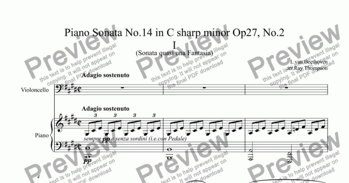 Beethoven: Piano Sonata No 14 in C sharp minor Op27, No 2 Mvt  I Adagio  Sostenuto (Moonlight Sonata) arranged violoncello and piano for Solo Solo