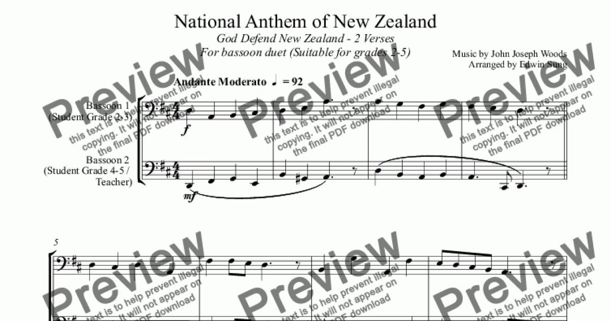 National Anthem of New Zealand (for bassoon duet, suitable for grades 2-5)  for Duet of Bassoons by John Joseph Woods - Sheet Music PDF file to