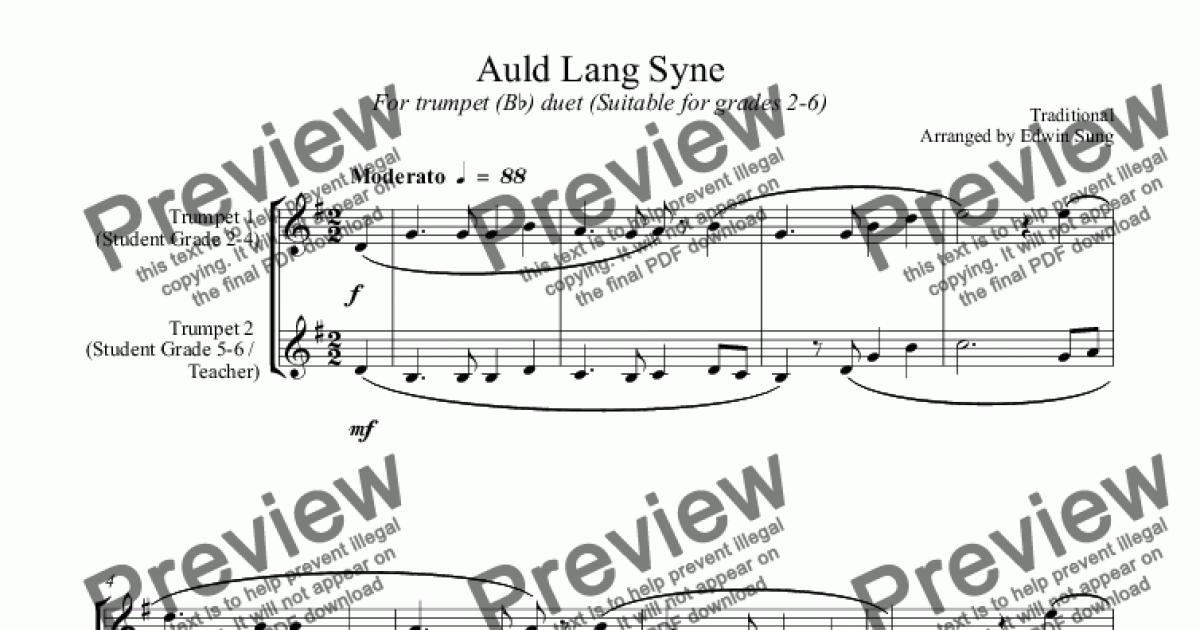 Auld Lang Syne (for trumpet (Bb) duet, suitable for grades 2-6) for Duet of  Trumpets in Bb by Traditional - Sheet Music PDF file to download