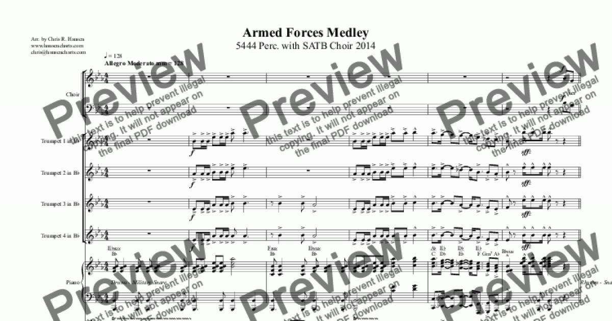 Armed Forces Medley 5444 Perc  with SATB Choir 2014 for Big band by  TRADITIONAL - Sheet Music PDF file to download
