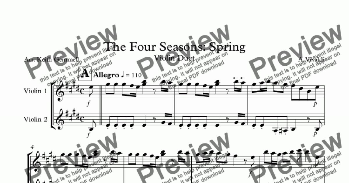 The Four Seasons Spring Violin Duet For Duet Of Solo Violins By A Vivaldi Sheet Music Pdf File To Download