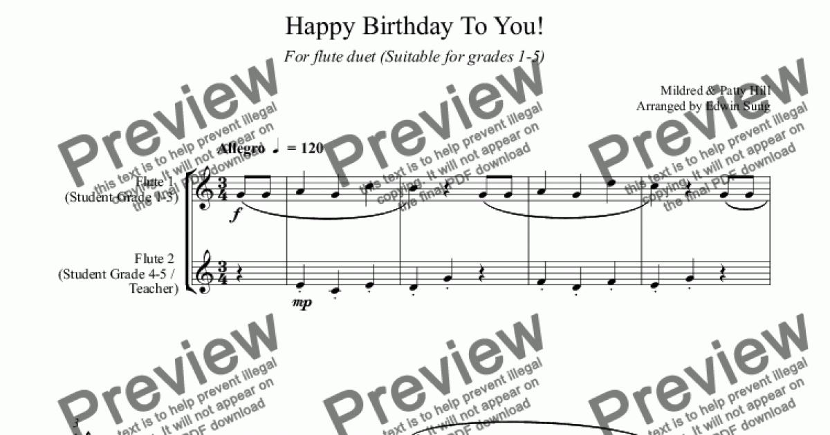 Happy Birthday To You! (for flute duet, suitable for grades 1-5)  (159FLDU01) for Duet of Flutes by Mildred & Patty Hill - Sheet Music PDF  file to