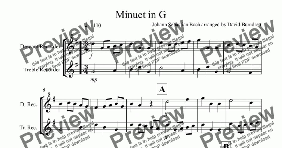 Minuet in G by Bach for Recorder Duet for Duet by Johann Sebastian Bach  arranged by David Burndrett - Sheet Music PDF file to download