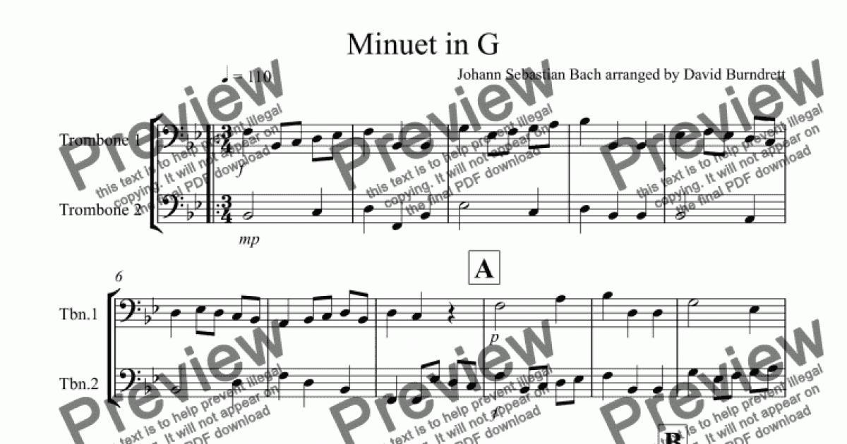 Minuet in G by Bach for Trombone Duet for Duet of Trombones by Johann  Sebastian Bach arranged by David Burndrett - Sheet Music PDF file to  download