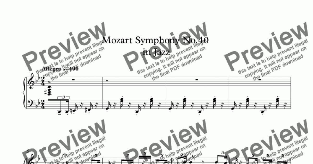 Mozart Symphony No 40 in Jazz for Solo instrument (Piano) by Mozart - Sheet  Music PDF file to download