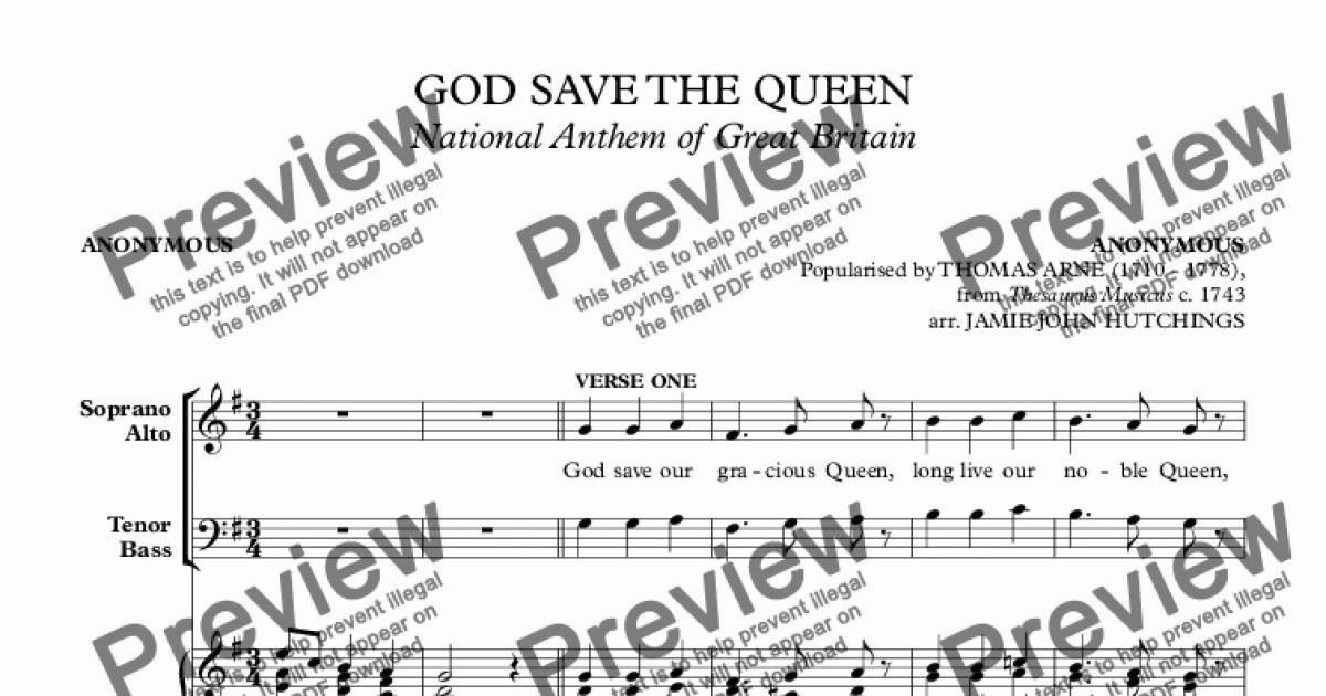 GOD SAVE THE QUEEN (National Anthem of Great Britain) [SATB & Organ] for  Choir + keyboard by Anonymous (popularised by THOMAS ARNE (1710 - 1778),  from