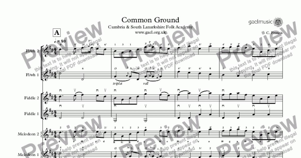 Common Ground Cumbria & South Lanarkshire Folk Academy www gael org uk for  Octet by C  Francis - Sheet Music PDF file to download