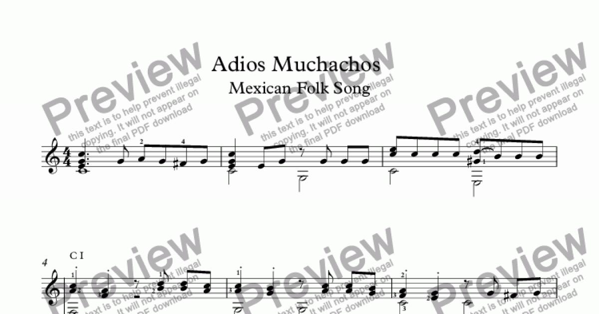 Adios Muchachos Mexican Folk Song for Solo instrument (Guitarra [notation])  by traditional - Sheet Music PDF file to download