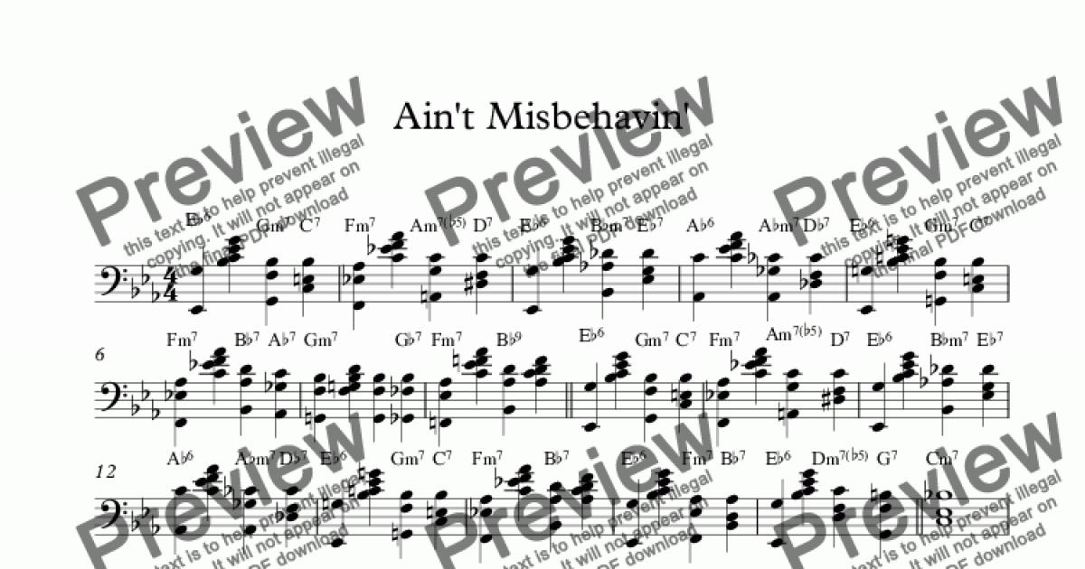 Stride Piano Lesson Aint Misbehavin Download Sheet Music Pdf File