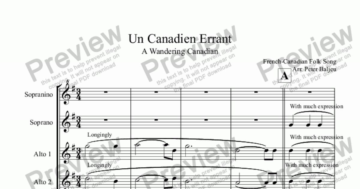 Un Canadien Errant for Recorders for Sextet of Soprano Recorders by  French-Canadian Folk Song Arr  Peter Baljeu - Sheet Music PDF file to  download