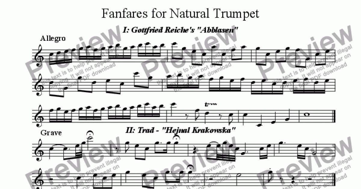 Fanfares for Natural Trumpet for Solo instrument (Trumpet in Bb) by Reiche  / Trad / Dixon - Sheet Music PDF file to download