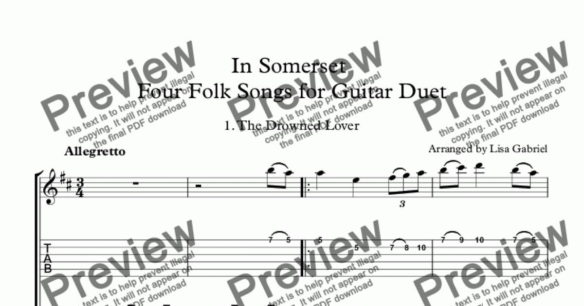 In Somerset Four Folk Songs for Guitar Duet (with TAB) for Duet of  Classical Guitars [notation] by Arranged by Lisa Gabriel - Sheet Music PDF  file to