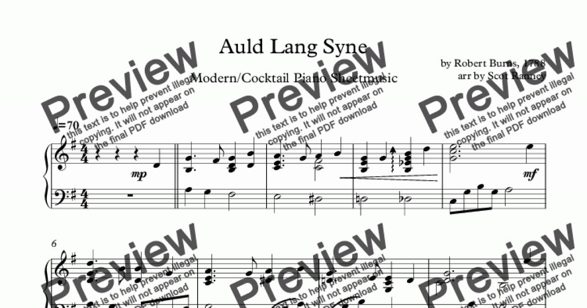 Auld Lang Syne (jazzy/celtic/modern sheetmusic) for Solo instrument (Piano)  by arr by Scot Ranney, by Robert Burns - Sheet Music PDF file to download