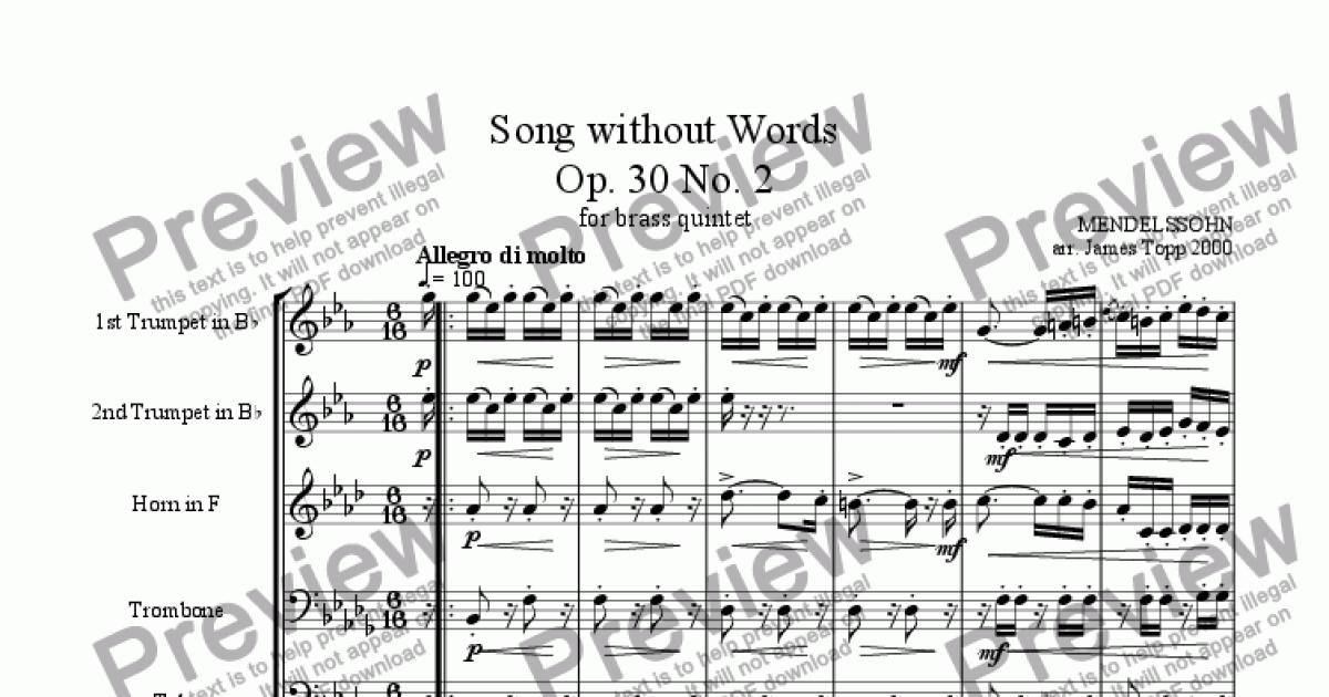 Song Without Words Op 30 No2 Download Sheet Music Pdf File