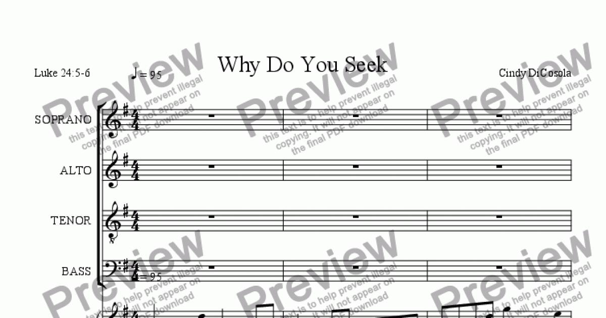 Why Do You Seek - SATB for Choir by Cindy DiCosola - Sheet Music PDF file  to download