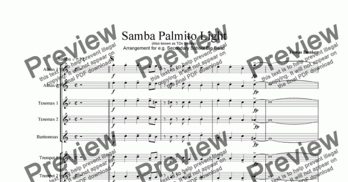 SAMBA PALMITO Light (for BigBand) for Big band by Tomas Dunker - Sheet  Music PDF file to download