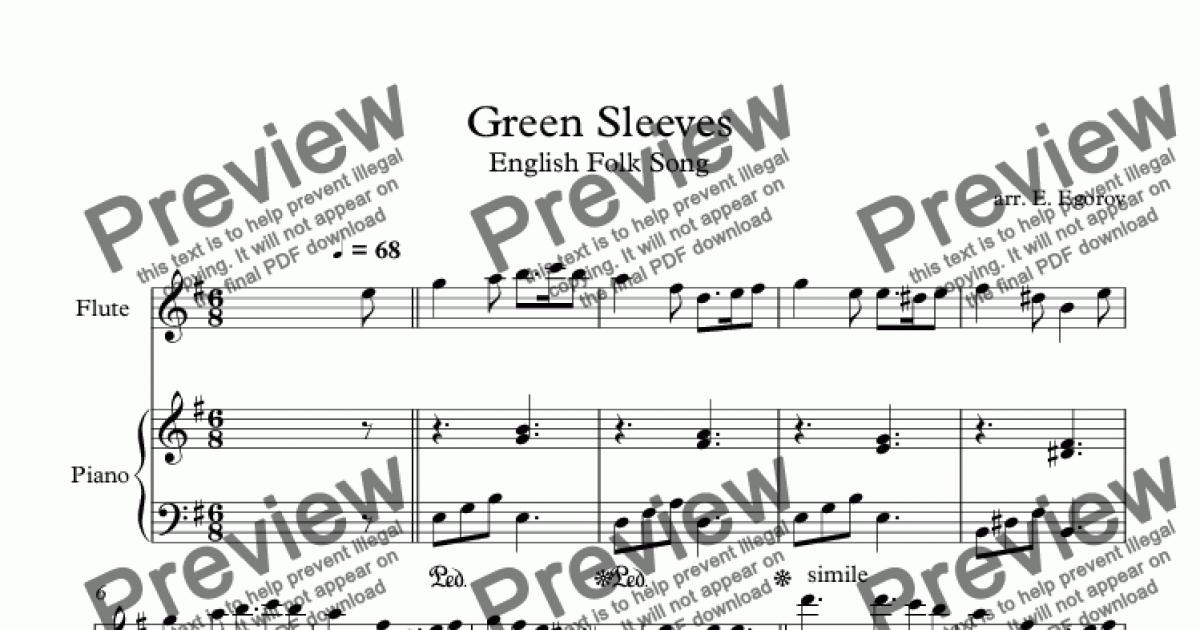Green Sleeves, English Folk Song, For Flute & Piano for Solo Flute + piano  by arr  E  Egorov - Sheet Music PDF file to download