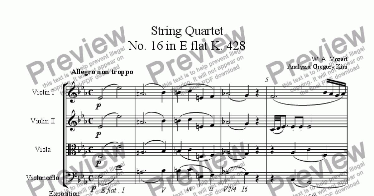 Analysis of Mozart's SQ No  16 in E flat 1st movement for String quartet by  Mozart - Sheet Music PDF file to download
