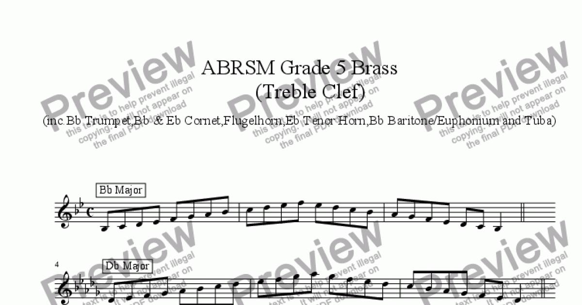 Brass Treble Clef - Grade 5 Scales & Arpeggios( ABRSM format ) for Solo  instrument (Trumpet in Bb) by Ray Thompson - Sheet Music PDF file to  download