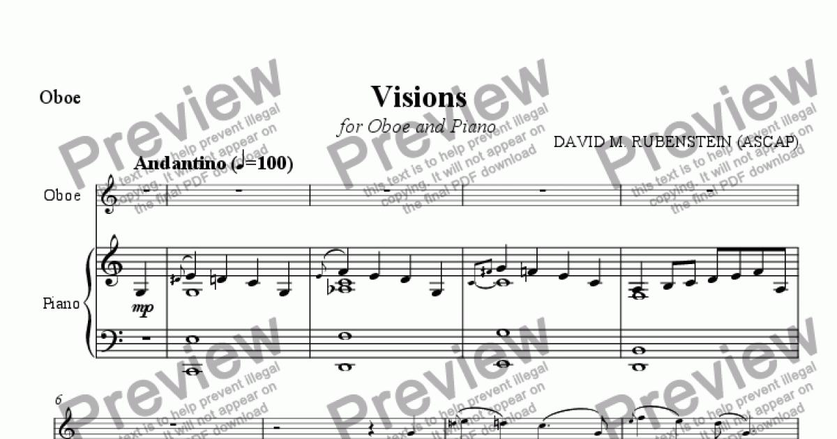 Visions (for Oboe and Piano) for Solo Oboe + piano by David Rubenstein -  Sheet Music PDF file to download