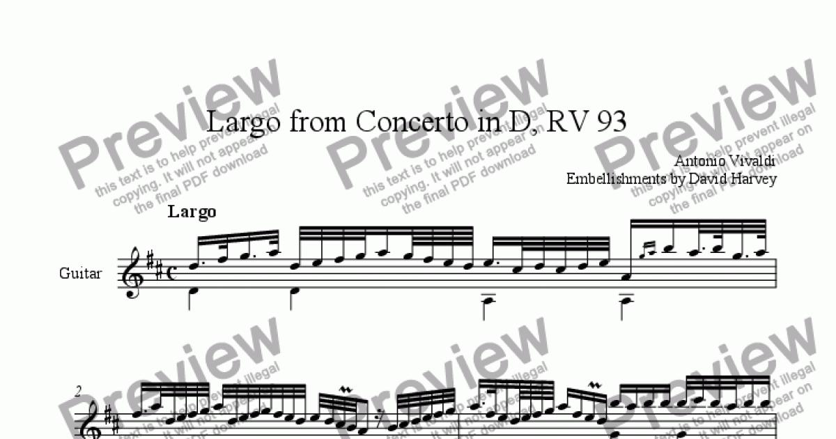 Largo from Lute Concerto in D, RV93 (ornamented) for Solo instrument  (Acoustic Guitar [notation]) by Antonio Vivaldi - Sheet Music PDF file to