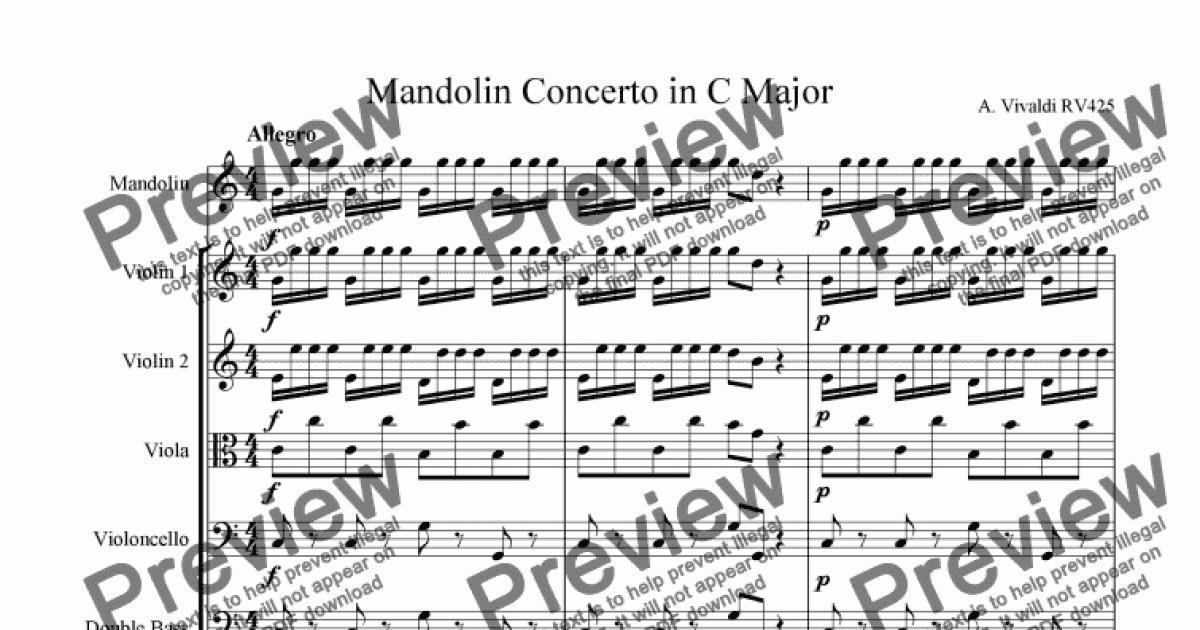 Vivaldi Mandolin Concerto in C Major RV425 for String orchestra by Vivaldi  - Sheet Music PDF file to download