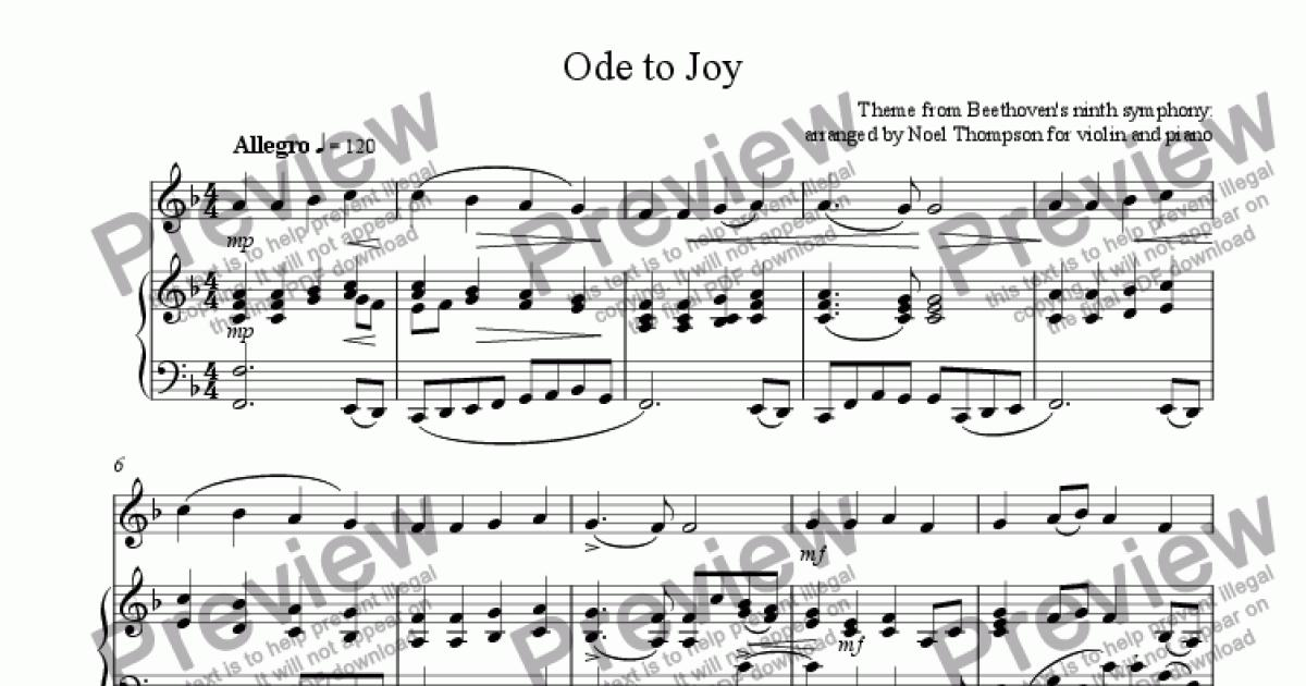 Ode to Joy from Beethoven's 9th symphony: violin & piano for Solo Solo  Violin + piano by Theme from Beethoven' ninth symphony: arranged by Noel