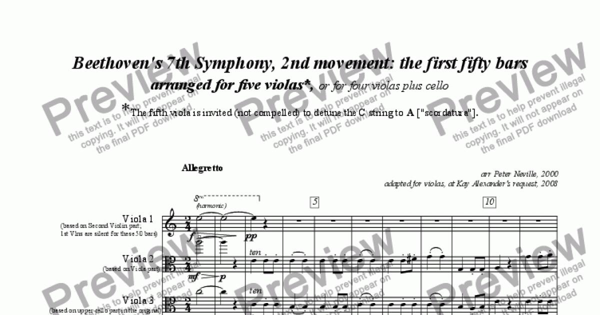 7th Symphony Beethoven 2nd Movement For Five Violas For Quintet Of Solo Violas By Beethoven Sheet Music Pdf File To Download