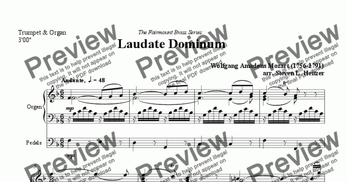 Laudate Dominum - Trumpet & Organ for Solo Organ [manuals] + piano by W A   Mozart - Sheet Music PDF file to download