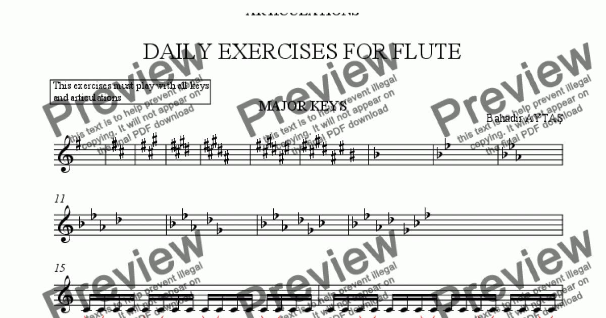 Daily Exercises for Flute for Solo instrument (Flute) by Bahadir Aytas -  Sheet Music PDF file to download